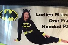 Batman Non Footed Womens Fleece Hooded 1-Piece Pajamas Union Suit XL 16 - 18