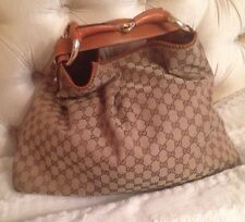 Gucci Monogram Canvas Leather Horsebit Large Hobo Bag -Luggage / Tan Color
