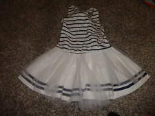 BOUTIQUE KATE MACK 6X NAVY BLUE WHITE STRIPED TULLE DRESS