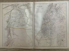 1882 SYRIA & PALESTINE ANTIQUE COLOUR MAP BY W.G. BLACKIE