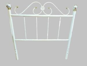 White Metal Open Frame Headboard or Footboard with Gold & Flowers Accents Posts