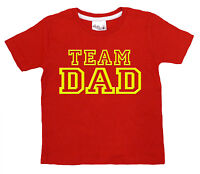 """Dirty Fingers Funny Child's T-Shirt Boy Girl Top """"Team Dad"""" Daddy Father's Day"""