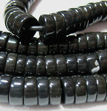 "Black Obsidian 10mm Heishi Rondelle 2mm Large Hole Beads 8"" Leather Cord Chain"