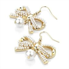 Gorgeous Gold Tone Faux  Pearl  Bow Earrings