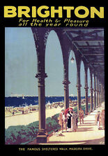Brighton for Health & Pleasure all Year Round The Train Rail Travel Poster Print