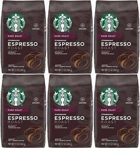 6 PACK Starbucks Espresso Dark Roast Ground Coffee Best Before January 2021