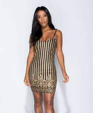 Womens Ladies Gold Striped Glitter Print Cami Bodycon Evening Party Mini Dress