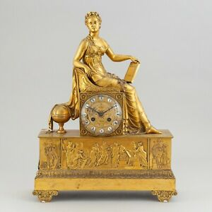 Awesome Palace Size 19C Antique French Ormolu Clock : Goddess of Truth Aletheia