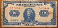 PAYS-BAS BILLET DE 10 GULDEN 1943 (BILL 67) DIFFICILE À TROUVER