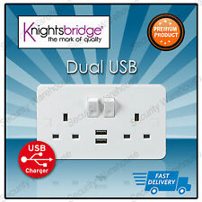 DOUBLE 2 Gang Electrical Plug SOCKET WALL FACEPLATE 2 USB CHARGER Outlets Ports