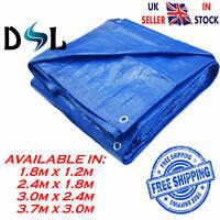 4 Sizes Heavy Duty Tarpaulin Blue Waterproof Strong Cover Ground Sheet Tarp