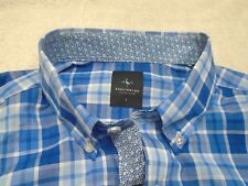Tailorbyrd 100% Cotton Blue Check Sport Shirt  NWT Large $99.50 Trim Fit