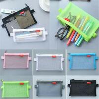 Transparent Student Pen Pencil Case Zip Mesh Portable Pouch Makeup Bag Storage C