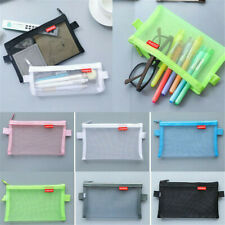 Transparent Student Pen Pencil Case Zip Mesh Portable Pouch Makeup Bag Storage C