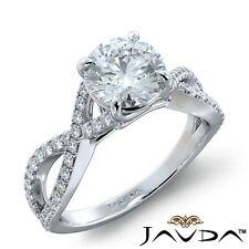 Engagement Ring Gia H-Vs1 White Gold 1.47ctw French Pave Sidestone Round Diamond