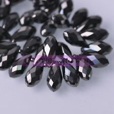 Bulk Wholesale 10pcs Teardrop Faceted Crystal Glass Loose Spacer Beads Pendants