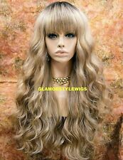HUMAN HAIR BLEND FULL WIG LONG WAVY LAYERED W BANGS OMBRE BROWN ASH BLONDE