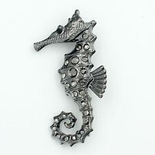 New Fashion Alloy Hippocampus Jet Hematite Crystal Brooch Pin 2834