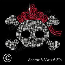 Skull Rhinestone/Diamante Transfer Hotfix Iron on Halloween Motif + a Free Gift