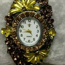 Fashion Fancy Bangle Crystal Flower Bracelet Quartz Ladies Watch NEW BATTERY