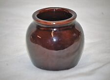 Old Vintage Stoneware Art Pottery Dark Brown Individual Bean Pot Crock USA