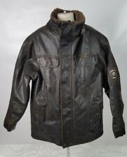 Hawke & Co Outfitter Bomber Jacket Youth Size 8 Brown Faux Leather Wool