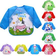 Cute Cartoon Baby Bibs Waterproof Colorful Children Bib Full Sleeve Feedin MD