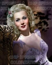 CAROLE LANDIS & LEOPARD SKIN THROW BEAUTIFUL COLOR PHOTO BY CHIP SPRINGER