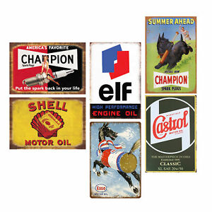 Pack of 6 Pcs Retro Gas Oil Vintage Tin Signs Home Wall Decor Garage Man Cave