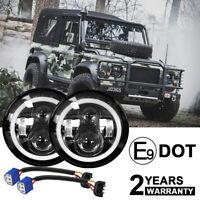 "2pcs E-Mark 7"" 160W Hi/Lo Beam LED Headlights for Land Rover Defender RHD 90 110"