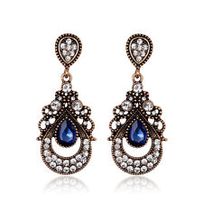 Vintage Dark Gold Blue Crystal Rhinestone Women Wedding Party Stud Drop Earrings