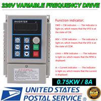 220V 0.75KW Single Phase To 3/Three Phase Output Frequency Converter VFD VSD USA