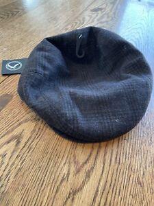 Epoch Men's Charcoal/Blk Wool plaid Newsboy Cabbie Hat Size L