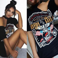 Women TShirt Short Dress Vintage Off Shoulder Rock Style Long T-Shirt Mini Dress