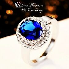 18K White Gold Plated AAA Grade CZ Oval Cut Stunning Royal Blue Halo Ring