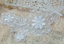 White FLOWER Embroidered Organza Lace Applique Motif Trim Patch Sew on - 17cm