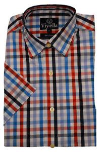 Viyella Cotton Short Sleeve bold  blue check shirt small