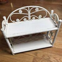 Vintage White Wicker Rattan Two Tier Wall Shelf Free Standing