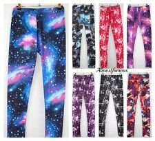 Space print leggings pants space galaxy cosmic skinny womens fashion Festival