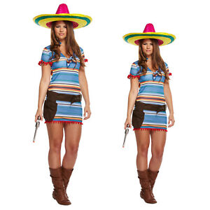 Women Mexican Costume Girls Ladies Poncho Fancy Dress Top Mini Dress Stag Party