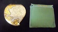 VTG ELDIN AMERICAN SILVER PLATED GOLD FLORAL HEART POWDER COMPACT WITH CASE **