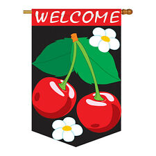 New listing Welcome Cherries Flag - Applique Decorative House Flag - H117018-P2