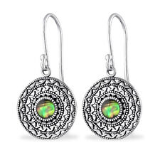 Abalone Shell Disk Sterling Silver Small Drop Earrings 14mm