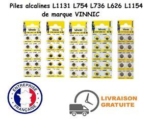 Piles Boutons VINNIC L1131 L754 L736 L626 L1154 alcaline 0% mercure