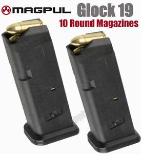 Glock 19 Magazine by Magpul 10 Round 9mm Pistol Gun Mag Clip 10rd (2-Pack) GL9
