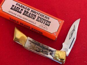Parker Brothers Japan K267 genuine Stag 2 Blade mint in box lockback knife