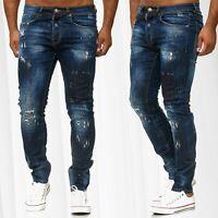 Jeans pour hommes pantalons détruits Slim Fit Denim Usagé Détruit déchiré