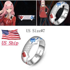 US SHIP Anime DARLING In The FRANXX 02 Zero Two 925 Silver Ring Adjustable Gift
