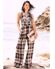 NEXT SIZE 10 PETITE WIDE LEG HALTER NECK CHECK JUMPSUIT BNWT BEACH / HOLIDAY /