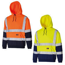 MENS DICKIES HI-VIS HOODED SWEATSHIRT SIZE S - 3XL SAFETY ORANGE YELLOW SA22095